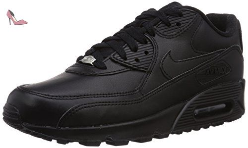 Nike Air Max 90 Leather, Baskets Mode Homme, Noir (Black/Black 001), 38.5 EU