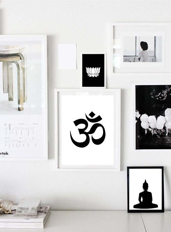 Yoga prints set om lotus buddha yoga studio decor yoga artwork black whiteyoga signblack white printsyoga art decorset of 3