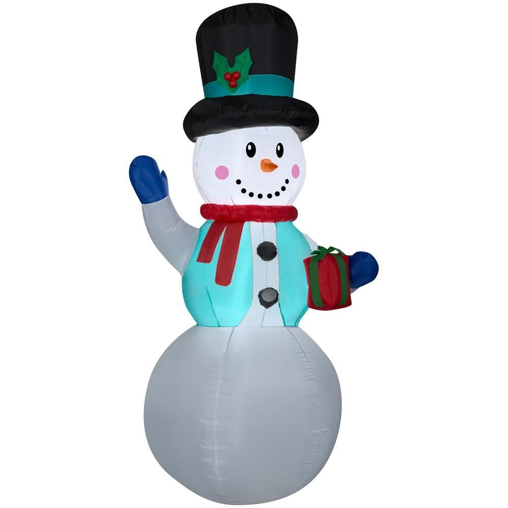 Home Accents Holiday 6.50 ft. Pre-lit Inflatable Snowman Airblown in ...