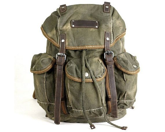 New Large Canvas Leather Backpack Rucksack Satchel by sydprstudio