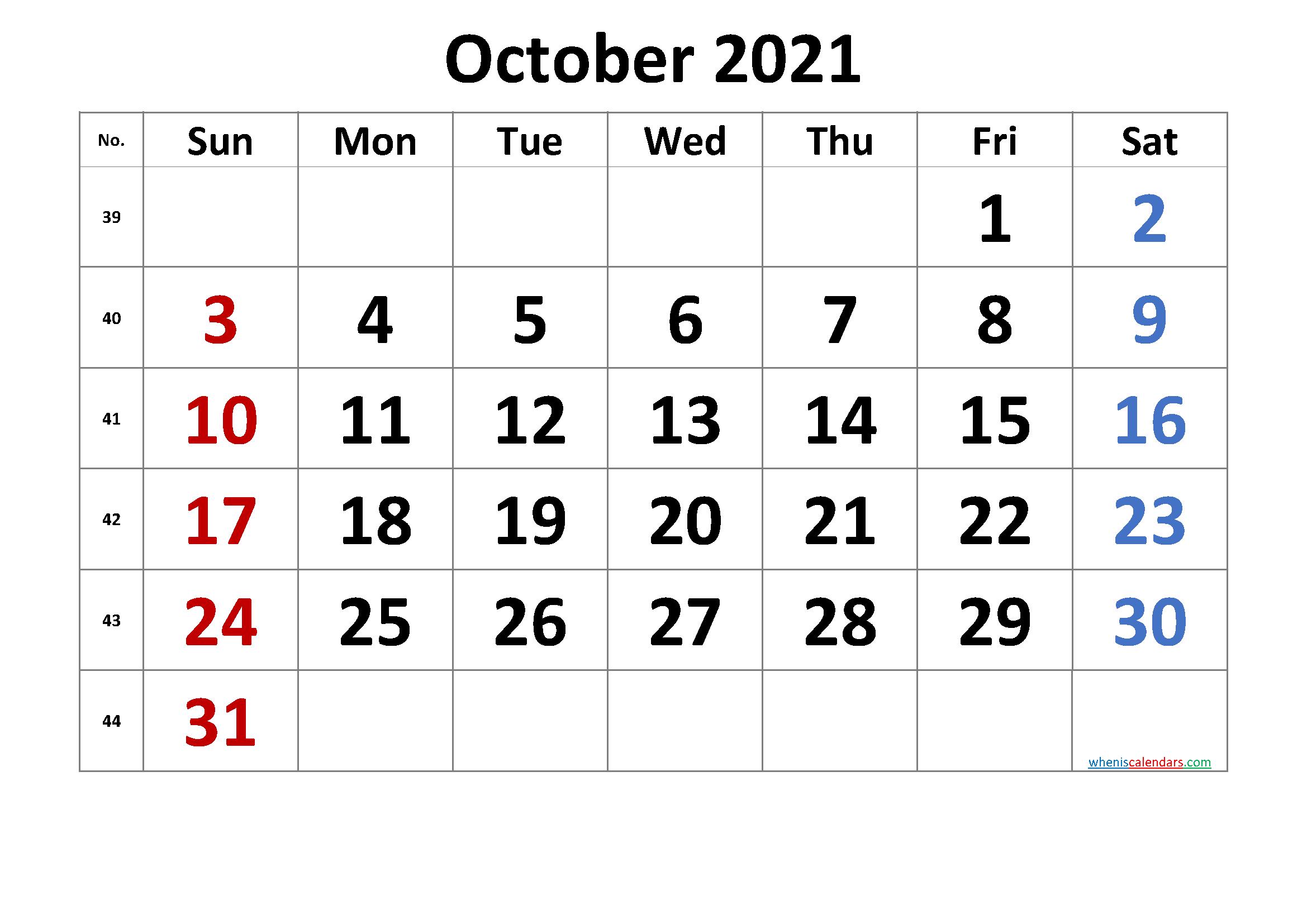 Free October 2021 Calendar Free Premium In 2020 Calendar Printables Printable Calendar Template 2021 Calendar