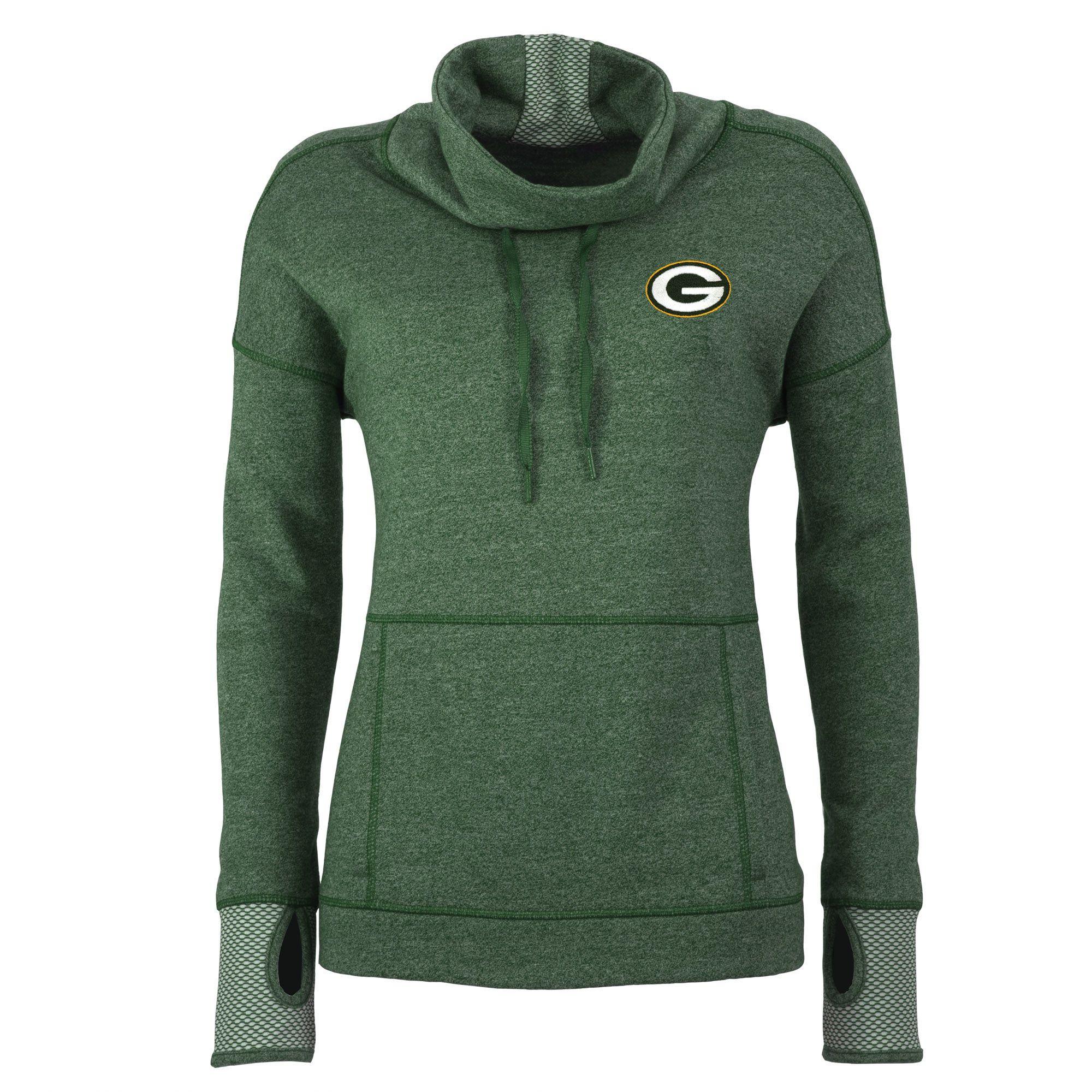 Antigua Green Bay Packers Women s Green Snap Cowl Neck Pullover Sweatshirt 339c4007d