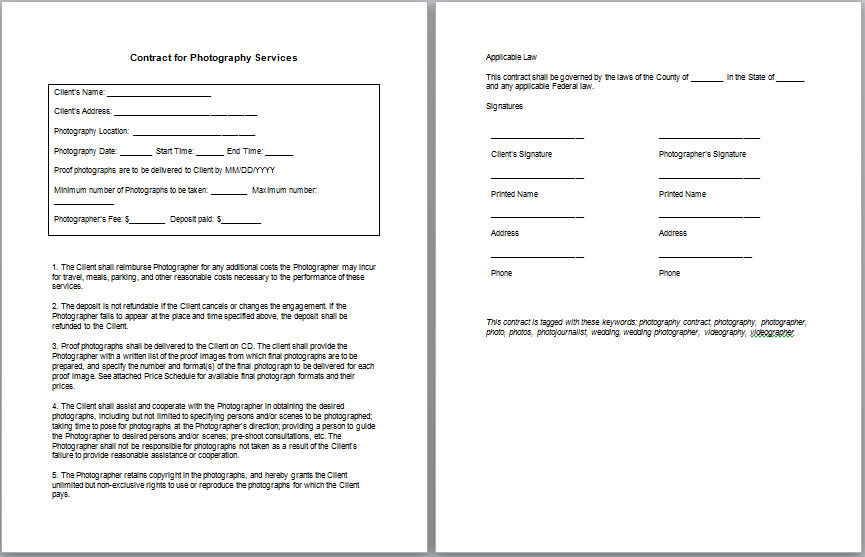 Wedding Graphy Contract Template  Nice Plastic Surgery  Projects