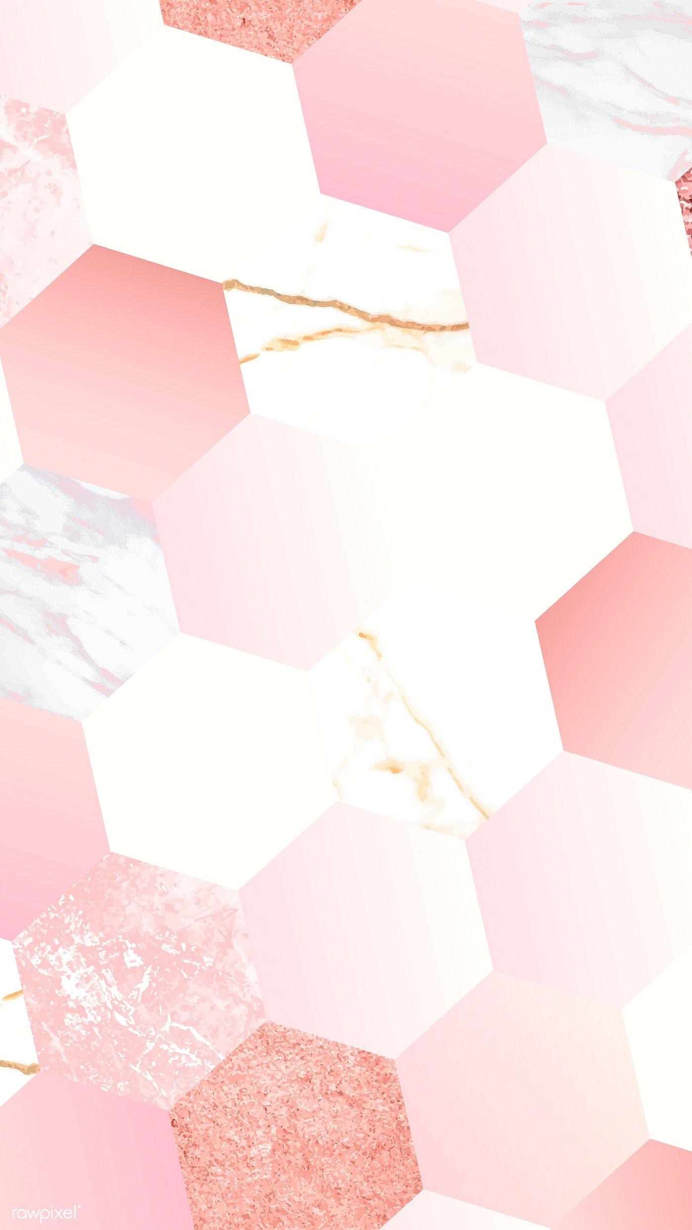 Pink Feminine Hexagon Geometric Background Vector Free Image By Rawpixel Com Niwat Geometric Background Pink Wallpaper Backgrounds Rose Gold Wallpaper