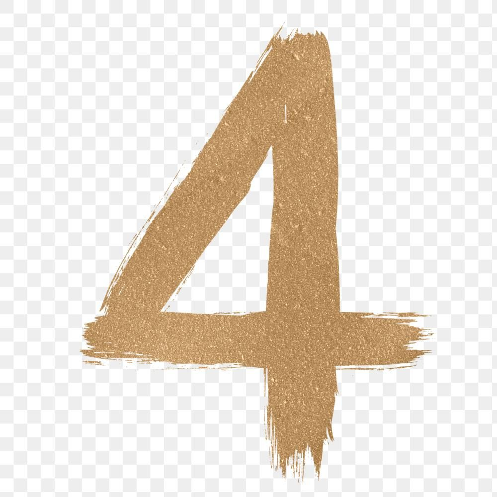 Transparent Gold Number 4 Brushed Typography Free Image By Rawpixel Com Hein Art Logo Typography Free Illustrations