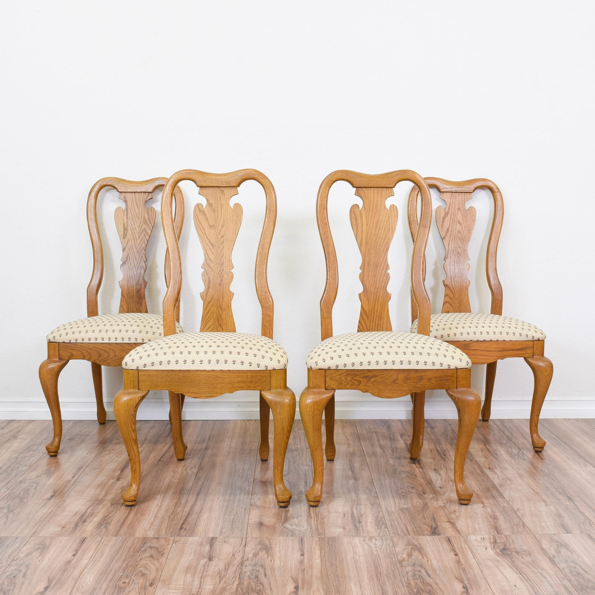 Set Of 4 Honey Oak Queen Anne Dining Chairs | Queen anne chair and ...