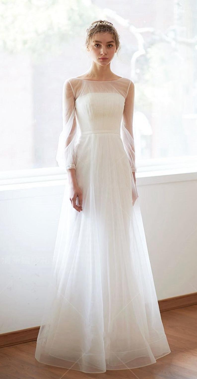 Simple A Line Long Sleeves Wedding Dress Minimalistic Mesh Straight Cross Illusion Sheer Lace Gown Wedding Dress Long Sleeve Wedding Dresses Sheer Sleeves Korean Wedding Dress [ 1525 x 794 Pixel ]
