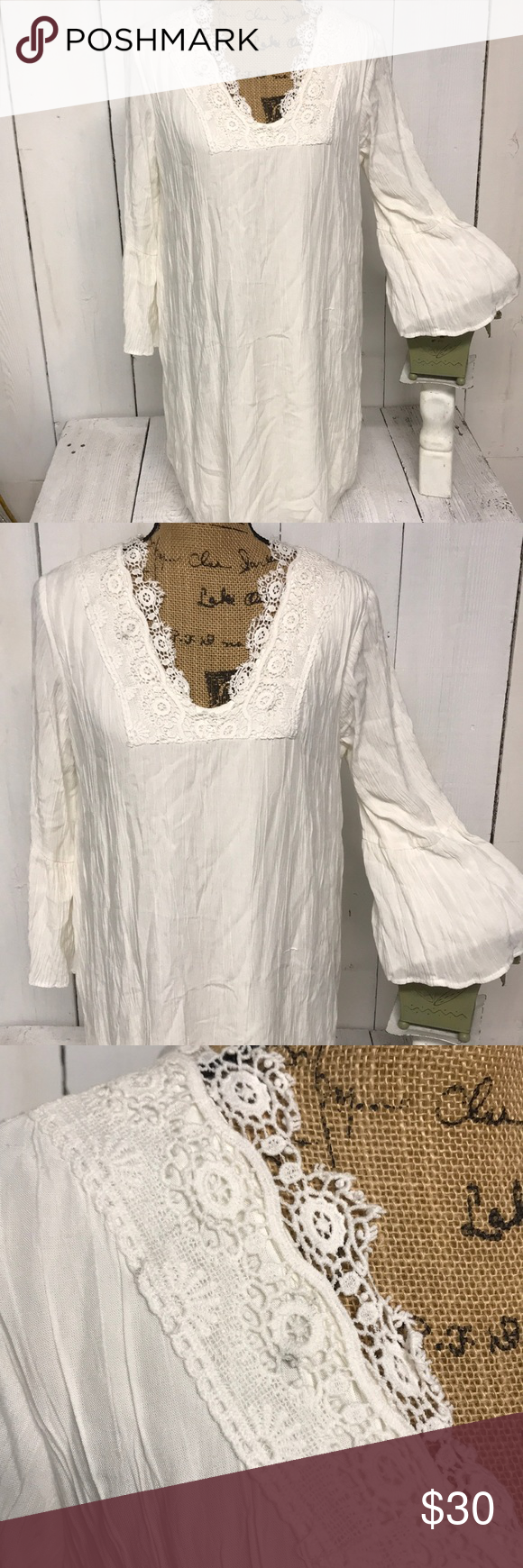 Nwt Joei I Boho Peasant Dress Cream Size L Peasant Dress Boho Long Sleeve Navy Dress Lace Detailed Dress [ 1740 x 580 Pixel ]