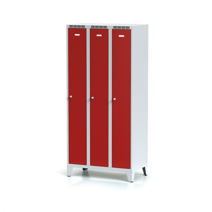 Metal wardrobe, 3-door on legs, red door, ot …