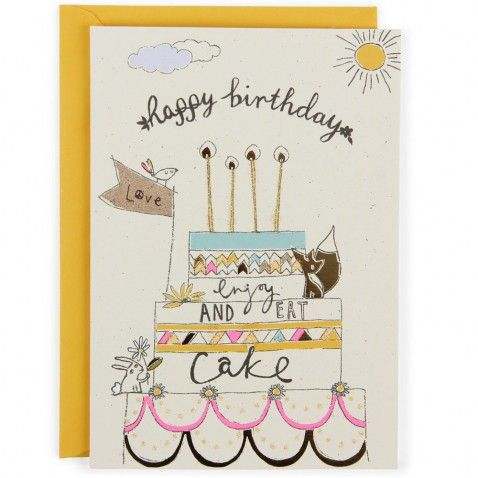 Happy birthday cake greeting card design type lettering