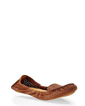 NINE WEST Brown Teanna Perforated Moccasins