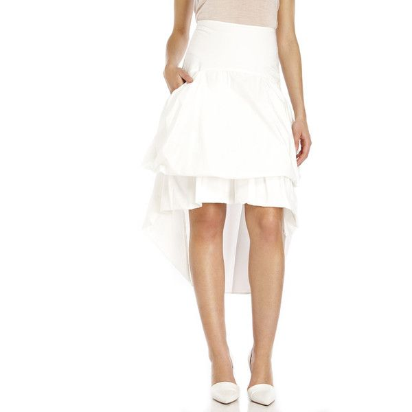 HACHE Woven Hi-Low Gathered Skirt (£120) ❤ liked on Polyvore featuring skirts, whites, white cotton skirt, white high waisted skirt, tiered skirt, cotton skirt and hi low skirt
