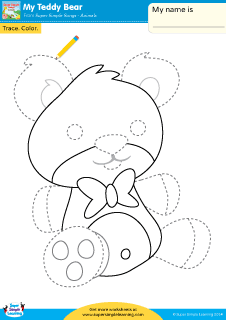 my teddy bear simple trace color worksheet from super simple learning - Simple Pictures To Trace