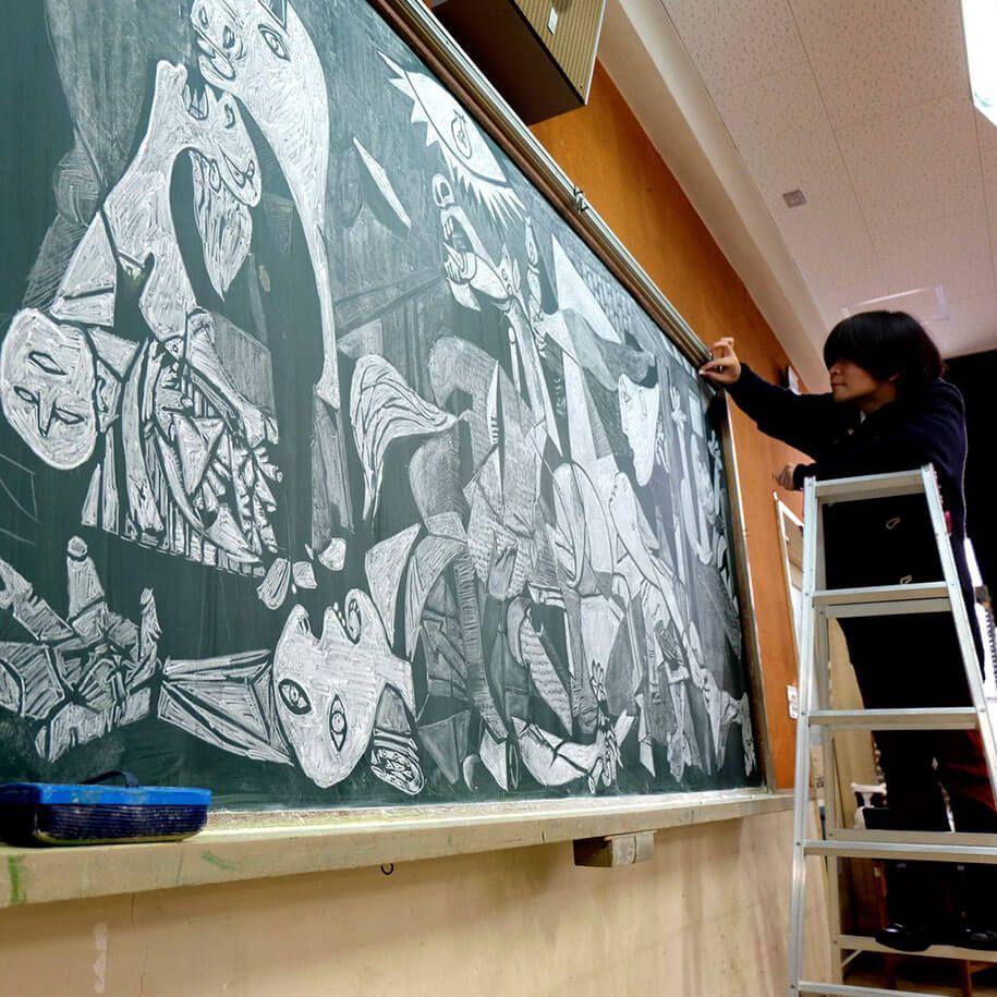 Drawing On Chalkboard Famous Art Piece
