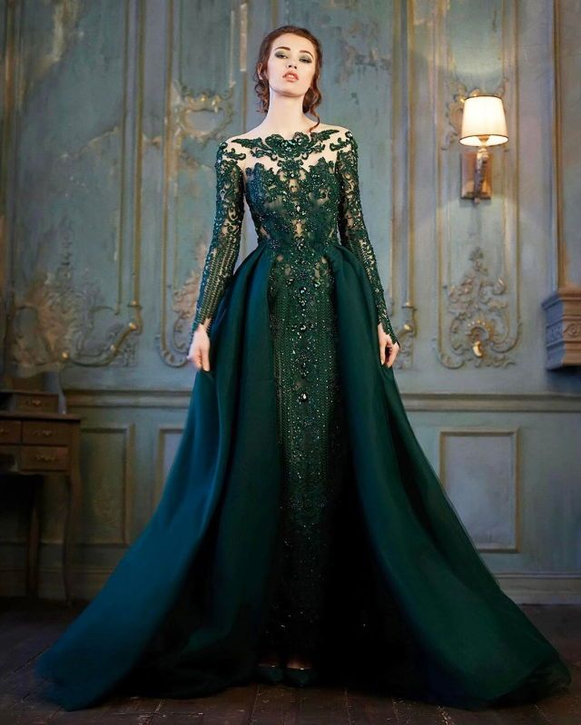 Traditional Wedding Gowns With Detachable Trains: Long Sleeve Green Dress With Detachable Train In 2020