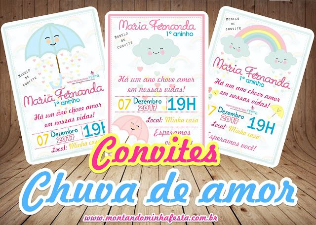 Convites Tema Chuva De Amor Para Menina Grátis Para Baixar E