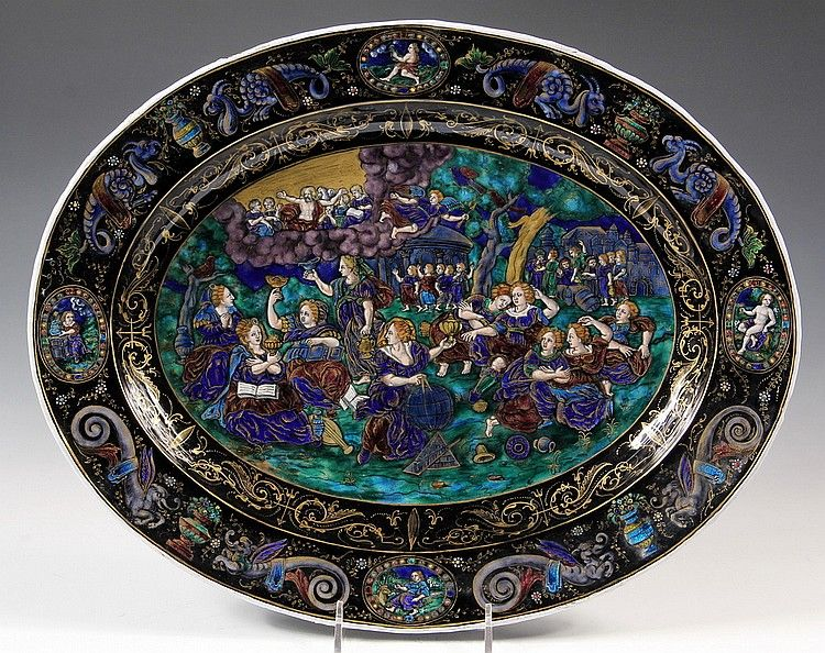 Limoges enamel platter with mythological decoration- possibly Renaissance