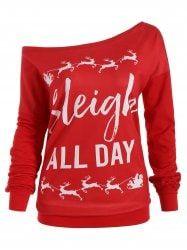 fac5a6035487e Christmas Elk Plus Size Sleigh All Day Sweatshirt