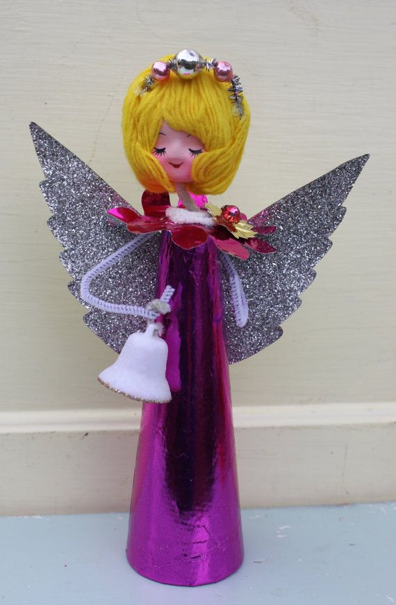Vintage Style Angel  - Pink with Glitter Wings