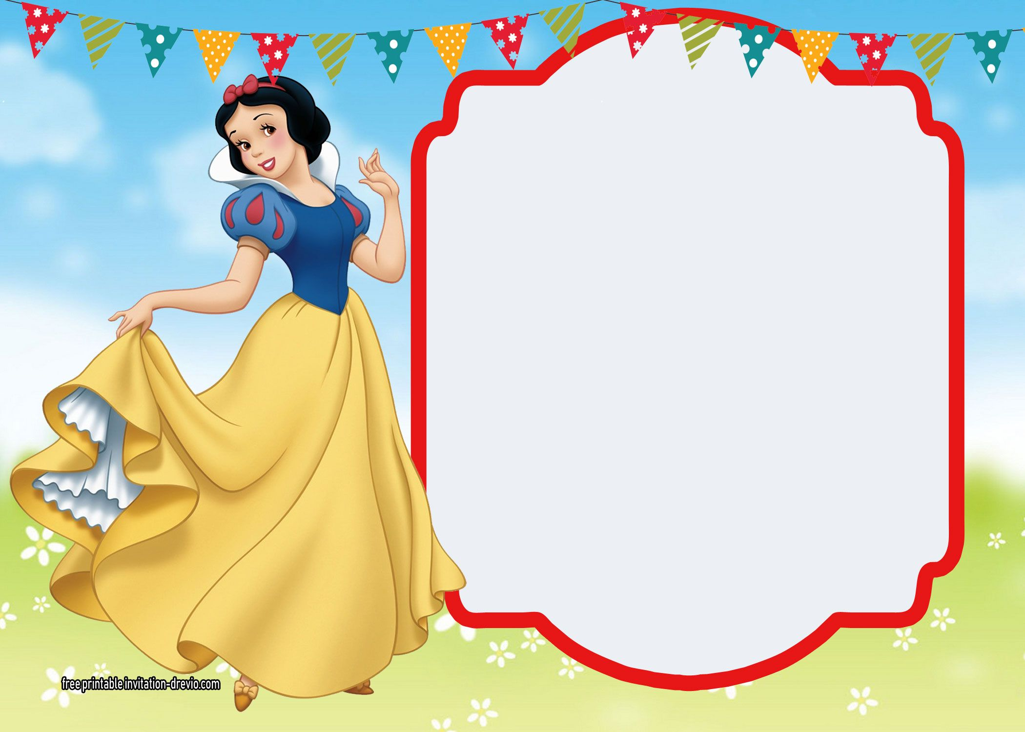 free printable snow white invitations