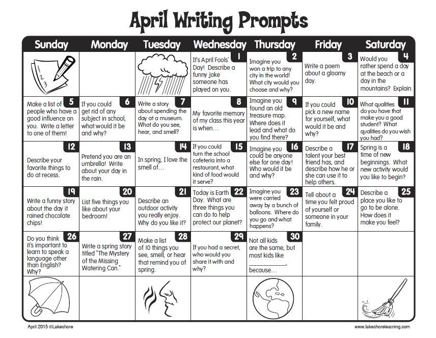 Clean image inside free printable writing prompts