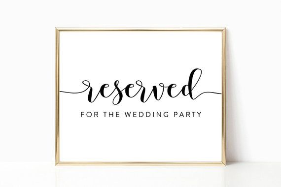 new styles beauty elegant shoes Reserved for the Wedding Party Sign, Reserved Table Sign ...