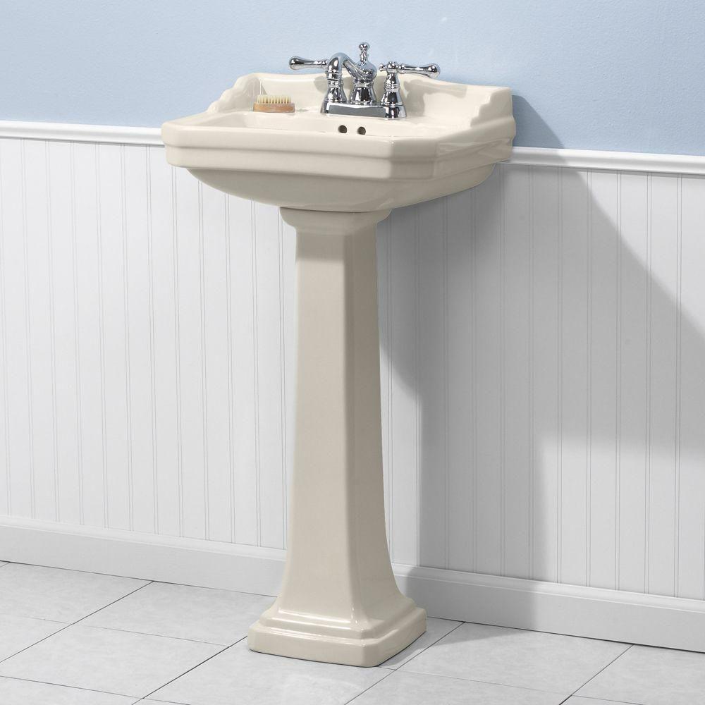 Foremost Series 1920 Vitreous China Pedestal Sink Combo In Biscuit Fl 1920 4bi Pedestal Sink Pedestal Sink Bathroom Sink