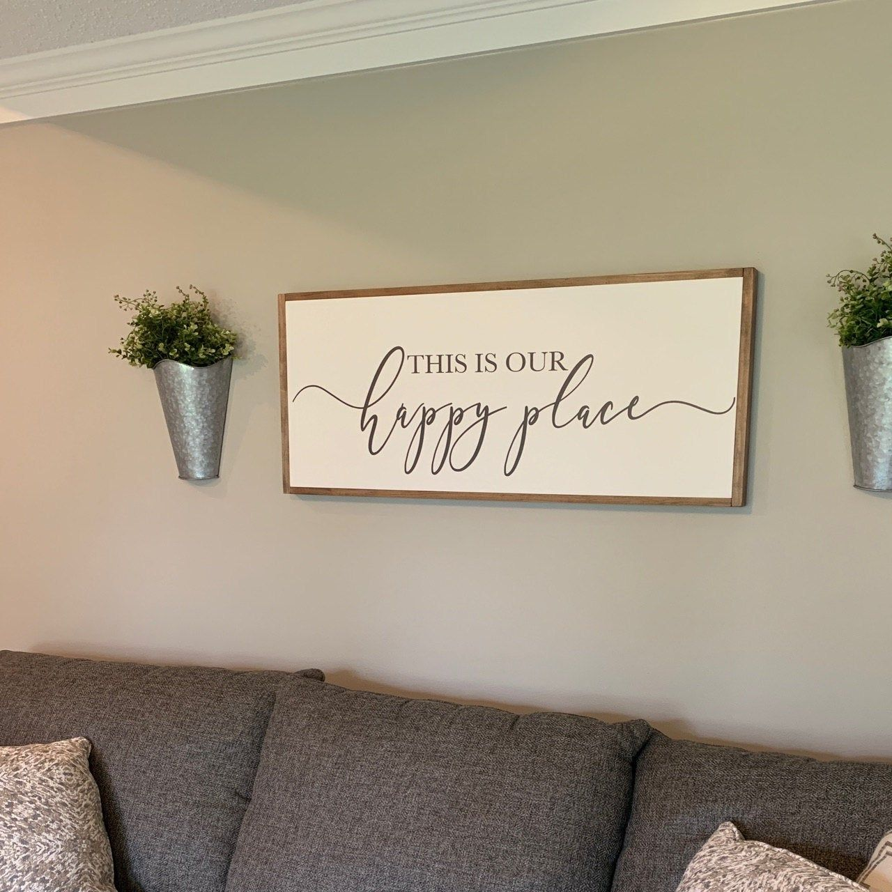 This Is Our Happy Place Sign Living Room Wall Decor Living Room Sign Happy Place Wood Sign Sign For Above Couch Framed Wood Signs Living Room Decor