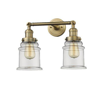 Photo of Greeley 2-Light Vanity Light Finish: Brushed brass