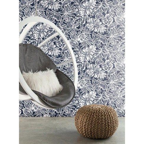 Tropical Leaf Peel & Stick Wallpaper Blue RoomMates