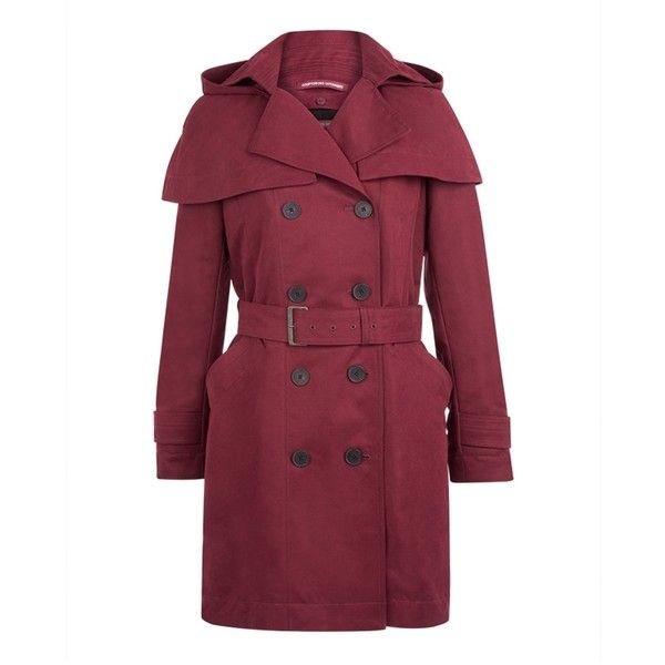 Comptoir Des Cotonniers Trench Coat Sioui Colour Dark Grenat 22 055 Liked On Polyvore Fea Women Outerwear Jacket Long Quilted Coat Water Resistant Coats