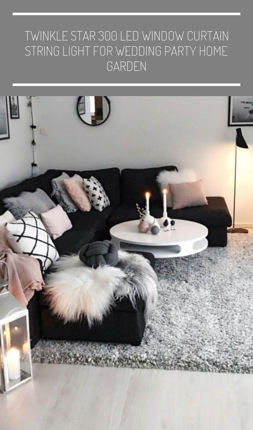 Cozy And Modern Black White Grey Pink Living Room Dorm Room Organization Pink In 2020 Black Living Room Black Living Room Decor Black And White Living Room