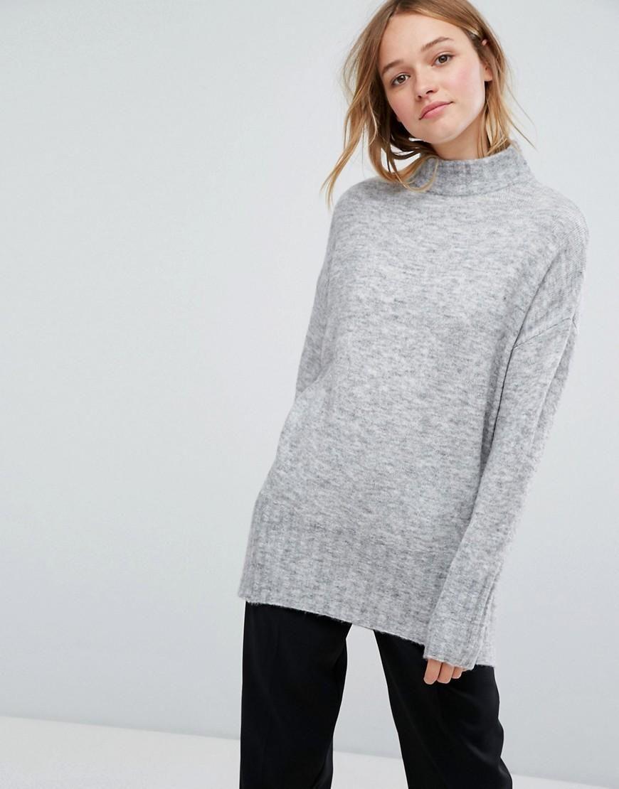 ASOS -  Monki Monki High Neck Seam Detail Sweater - Gray - AdoreWe.com 0e94bb1b1
