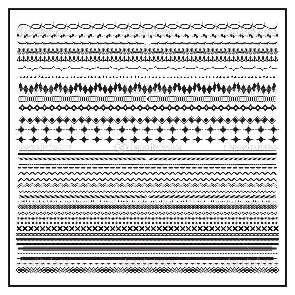 Línea vintage frontera elemento conjunto y diseño — Ilustración de stock #35001491