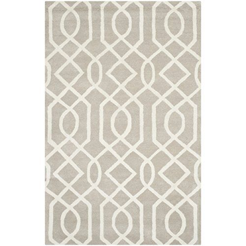 Safavieh Soho Collection SOH411B Handmade Grey and Ivory New Zealand Wool & Viscose Area Rug, 5 feet by 8 feet (5′ x 8′) #handmade The Safavieh Soho Collection is modern chic mixed with classic elegance. These clean, contemporary designs are modernized to work equally well in both modern and traditional homes. Each rug is handmade of the purest, premium New Zealand Wool, to add clarity and softness. These rugs are accented with viscose, to add silky softness to the wool. This innovat..