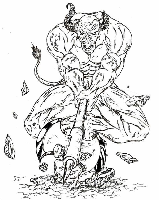 fantasy and sci fi creatures coloring pages for adults minotaur coloring pages this is your