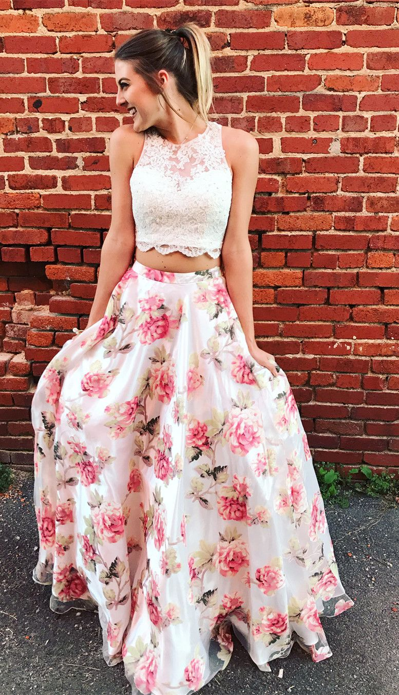 Two piece floral long prom dress graduation dress from modsele