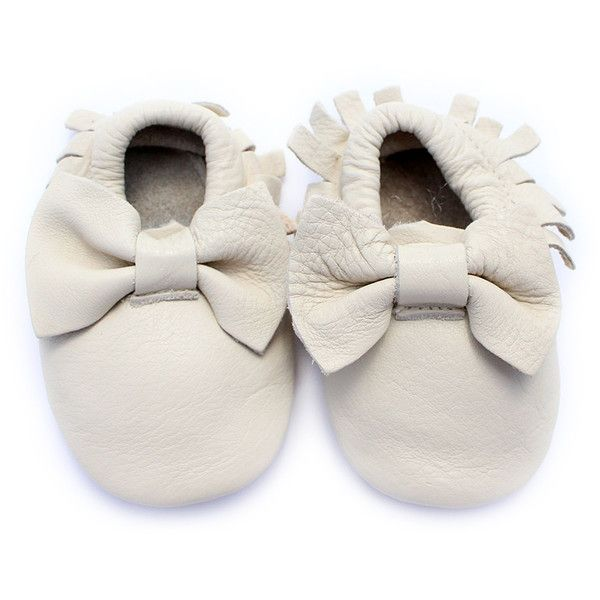 Sweet Lemon Boutique Ivory Bow Leather Moccasin Booties ❤ liked on Polyvore featuring shoes, real leather shoes, leather moccasin shoes, genuine leather shoes, ivory shoes and bow shoes