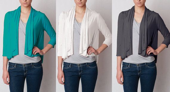 Short Cardigan Wrap  Rayon/Spandex Top  by heartsfromJS,