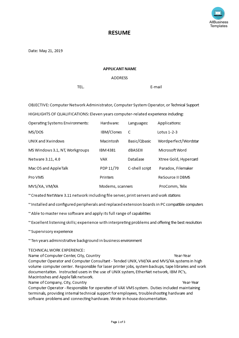 How To Make A Professional Scannable Resume An Easy Way To Start Is To Download This Sample Operator Scannable R Resume Templates Resume Resume Microsoft Word