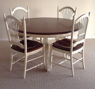 Superbe Ethan Allen Country French Dining Room Set With Table And 6 Wheatback Chairs