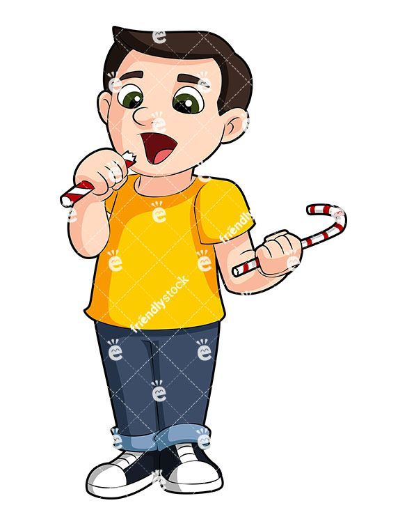 Young Boy Eating Candy Cartoon Vector Clipart Friendlystock Kids Vector Kids Clipart Cartoons Vector