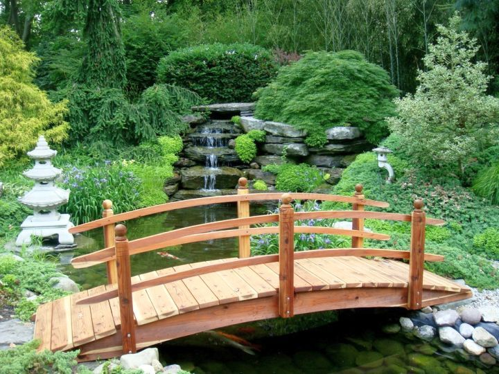 japanese garden bridge plans with simple railing - Red Japanese Garden Bridge