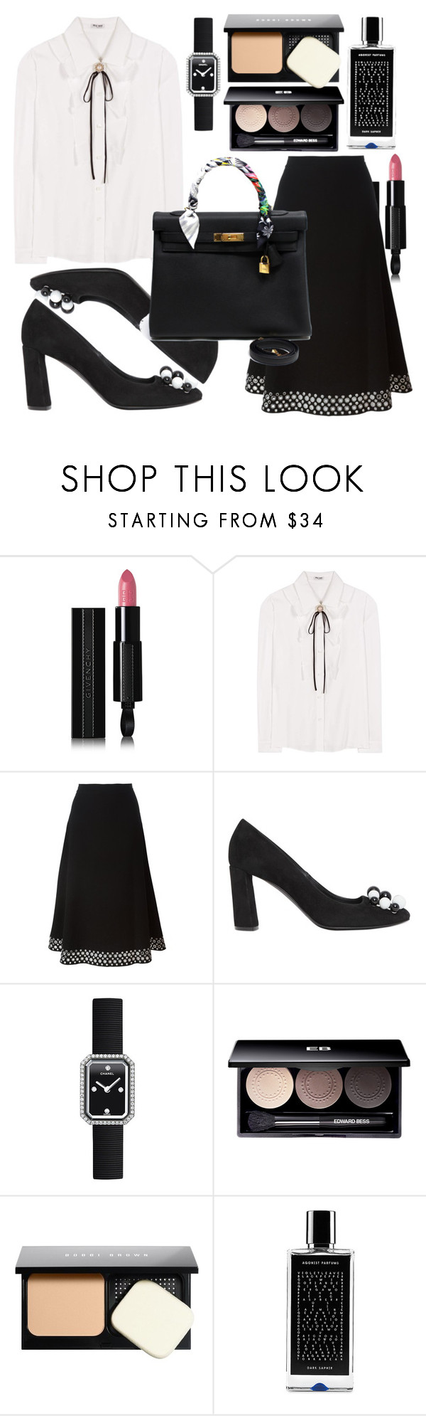 """Untitled #447"" by ngkhhuynstyle ❤ liked on Polyvore featuring Givenchy, Miu Miu, Alexander Wang, Casadei, Chanel, Edward Bess, Bobbi Brown Cosmetics, Agonist and Hermès"