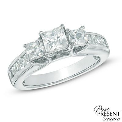 T W Princess Cut Diamond Past Present Future Engagement Ring In 14k