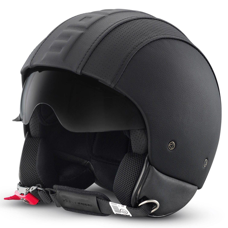 Buy Motorcycle Helmet >> Momo Hero Special Edition Black Leather Helmets Open