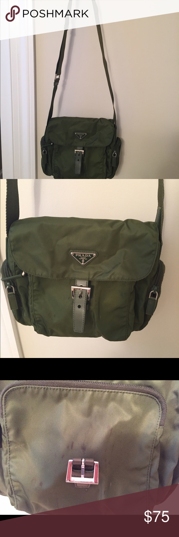 1690b2467363 Prada nylon cross body purse Great weekend or travel purse. Color is a  light army green. There are some water spots on the front as pictured.  Front and size ...