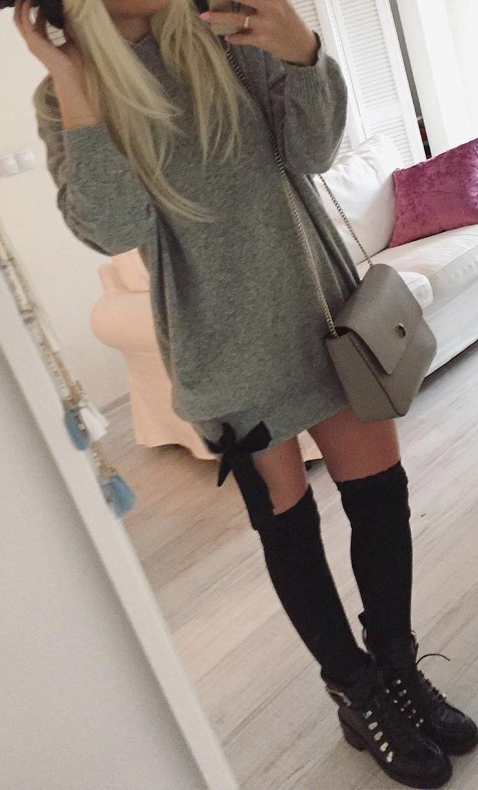 Grey Sweater Dress Shoulder Bag Long Socks Ankle Boots