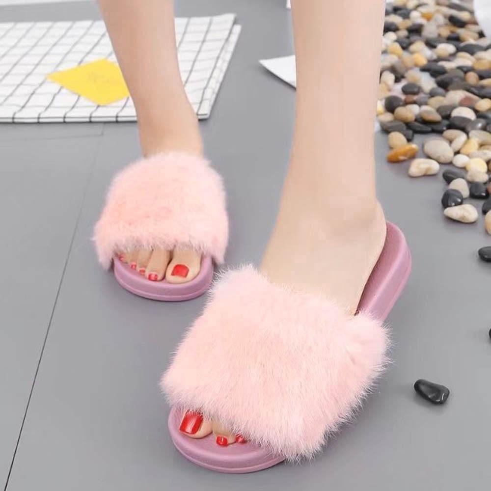 b0401ce6f27 Womens Flat Non-slip Soft Fluffy Faux Fur Flat Slipper Flip Flop Sandal