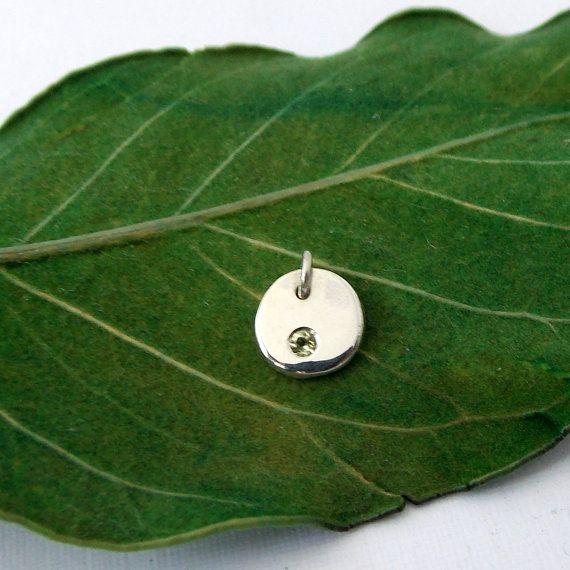 Flat Pebble Birthstone Pendant: silver pendant by RitoOriginals